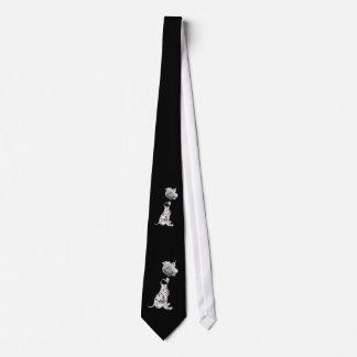 Corbata del perrito dálmata y del rosa blanco