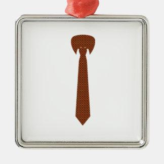Corbata elegante adorno navideño cuadrado de metal