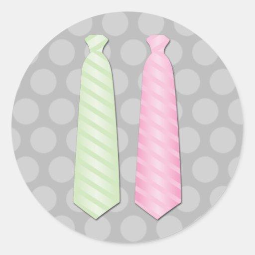 Corbata gay del boda pegatina redonda