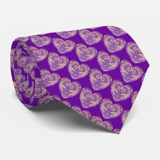 Corbata púrpura del corazón del brocado del oro de