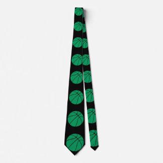 Corbata verde y negra del baloncesto