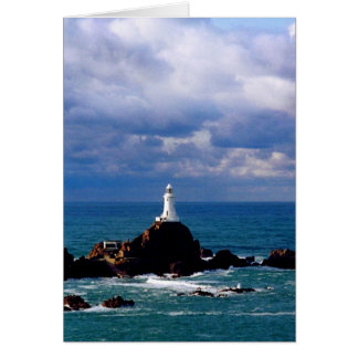 CORBIERE LIGHTHOUSE AT HIGH TIDE CARD