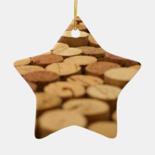 Corchos del vino adorno navideño de cerámica en forma de estrella