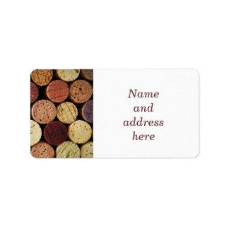 Corchos del vino etiqueta de dirección