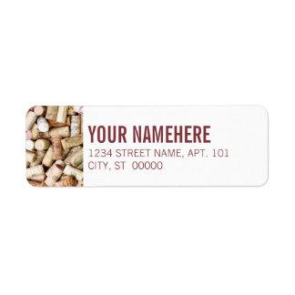 Corchos del vino etiqueta de remite