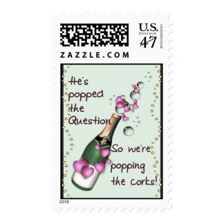 Corchos que hacen estallar sello postal