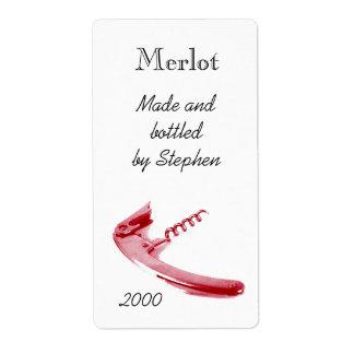 Corckscrew de la botella de vino rojo etiqueta de envío