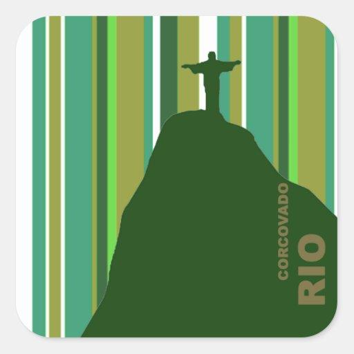 Corcovado Cristo Redentor Río el Brasil Pegatina Cuadrada