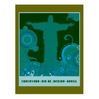 Corcovado graphic design postcard