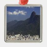 Corcovado que pasa por alto Río de Janeiro, el Adorno Navideño Cuadrado De Metal