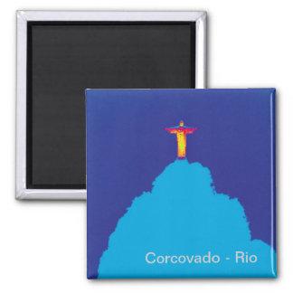 Corcovado Rio Brasil 2 Inch Square Magnet