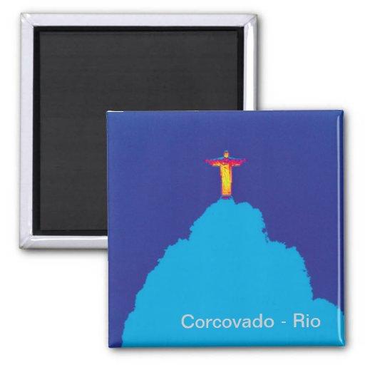 Corcovado Río el Brasil Imán Cuadrado