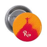 Corcovado rojo el Río-Brasil Pin Redondo De 2 Pulgadas