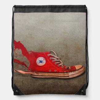 Cord tennis shoe rucksack drawstring bag