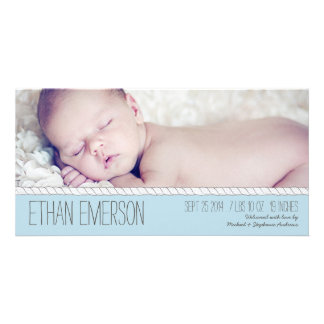 Corded Blue Baby Boy Photo Birth Announcement Photo Greeting Card