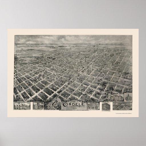 Cordele, mapa panorámico del GA - 1908 Poster