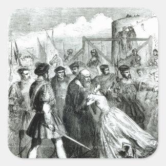 Cordelero de Margaret que toma licencia de su Pegatinas Cuadradases