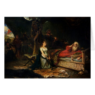 Cordelia and King Lear (oil on canvas) Greeting Card