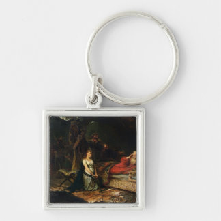 Cordelia and King Lear (oil on canvas) Keychain