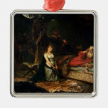 Cordelia and King Lear (oil on canvas) Christmas Ornaments