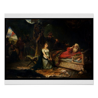 Cordelia and King Lear (oil on canvas) Poster