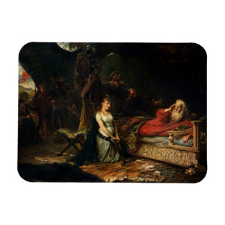 Cordelia and King Lear (oil on canvas) Vinyl Magnets