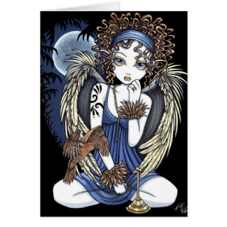 """Cordelia"" Gothic Moon Oil Bird Angel Art Card"