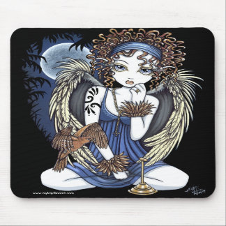 """Cordelia"" Gothic Moon Oil Bird Angel Art Mousepad"