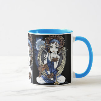 """Cordelia"" Gothic Moon Oil Bird Angel Art Mug"