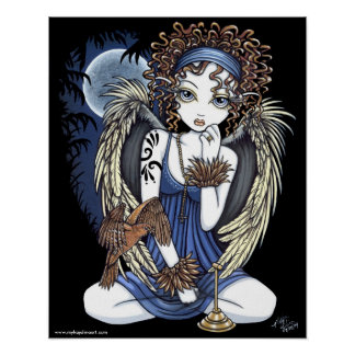 """Cordelia"" Gothic Moon Oil Bird Angel Art Poster"