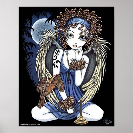"""Cordelia"" Gothic Moon Oil Bird Angel Art Poster"