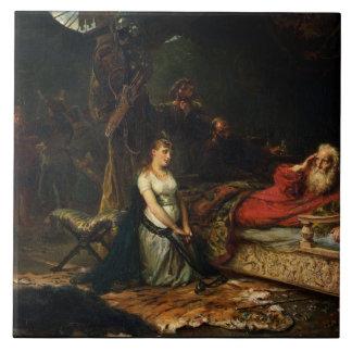 Cordelia y rey Lear (aceite en lona) Azulejo Cuadrado Grande