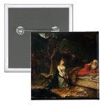 Cordelia y rey Lear (aceite en lona) Pin Cuadrada 5 Cm