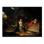 Cordelia y rey Lear (aceite en lona) Tarjeta Postal