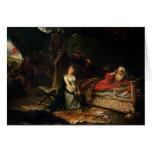 Cordelia y rey Lear (aceite en lona) Tarjetas