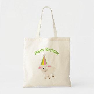 Cordero del feliz cumpleaños bolsa tela barata