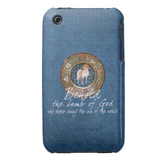 Cordero del icono cristiano bizantino de dios en iPhone 3 Case-Mate carcasas