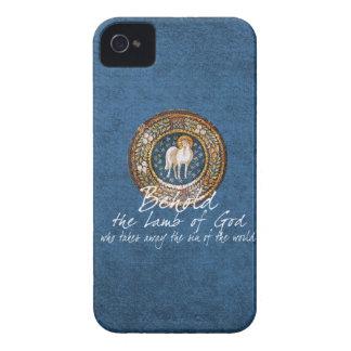 Cordero del icono cristiano bizantino de dios en iPhone 4 carcasa