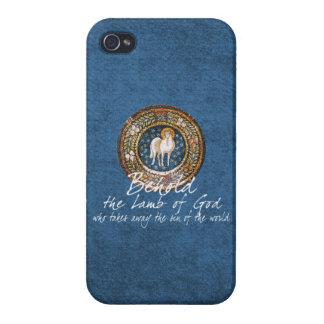 Cordero del icono cristiano bizantino de dios en iPhone 4 funda