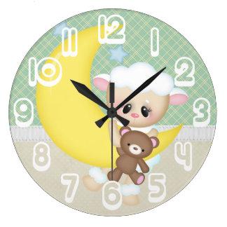 Cordero hermoso del bebé reloj redondo grande