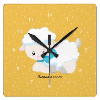 Cordero lindo * elija el color de fondo reloj cuadrado