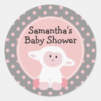 Cordero lindo y lunares del bebé personalizados pegatina redonda