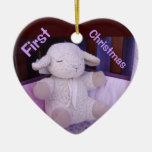 Cordero relleno primeros ornamentos del navidad de adorno