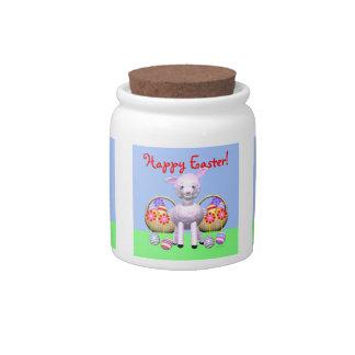 Cordero y cestas de Pascua Plato Para Caramelo
