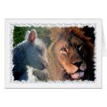 Cordero y león tarjetón