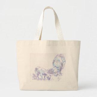 Cordero y ovejas que pastan el dibujo del lápiz y  bolsa