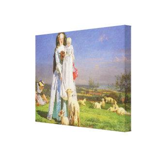 Corderos bonitos del Baa por Ford Madox Brown Impresión En Lona Estirada