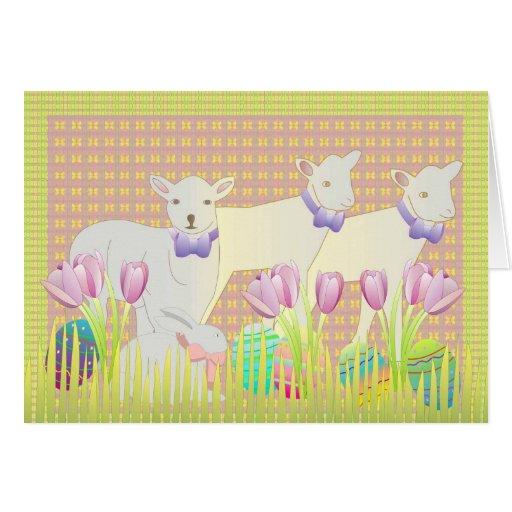 Corderos de la primavera tarjeta de felicitación