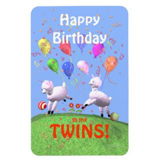 Corderos del feliz cumpleaños para los gemelos imanes rectangulares