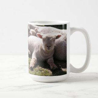 Corderos soñolientos taza básica blanca